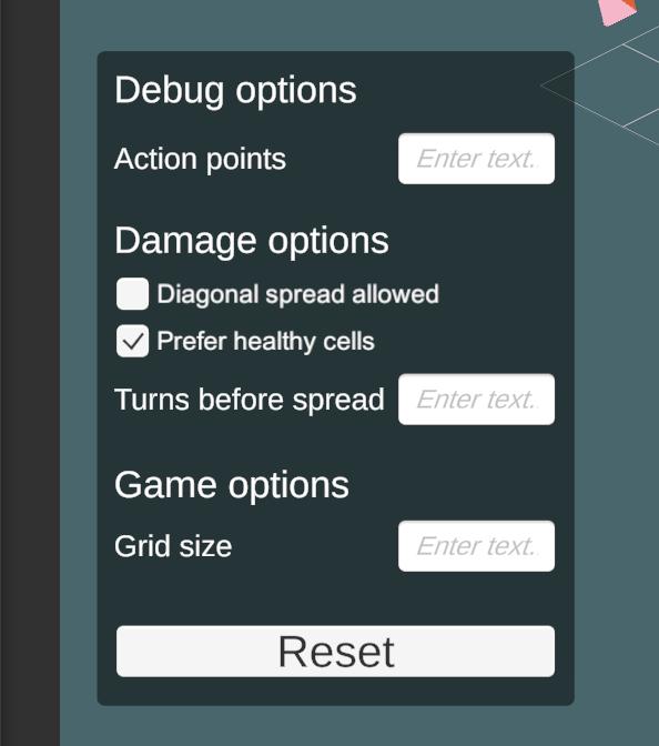 Screenshot of debug menu