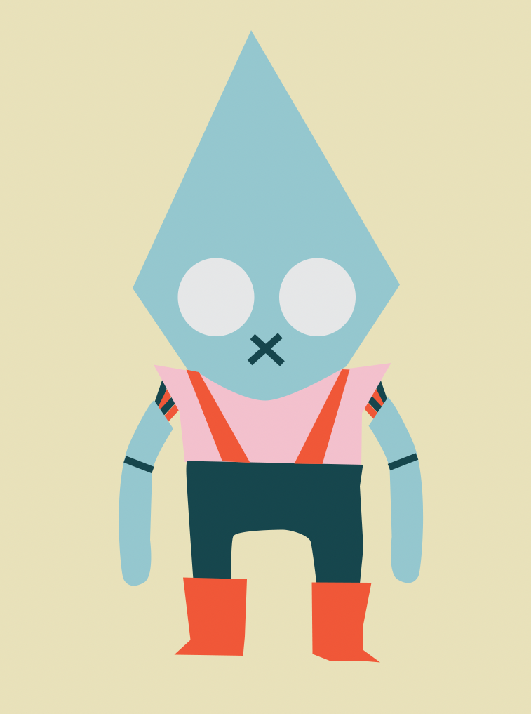 Main character draft in color